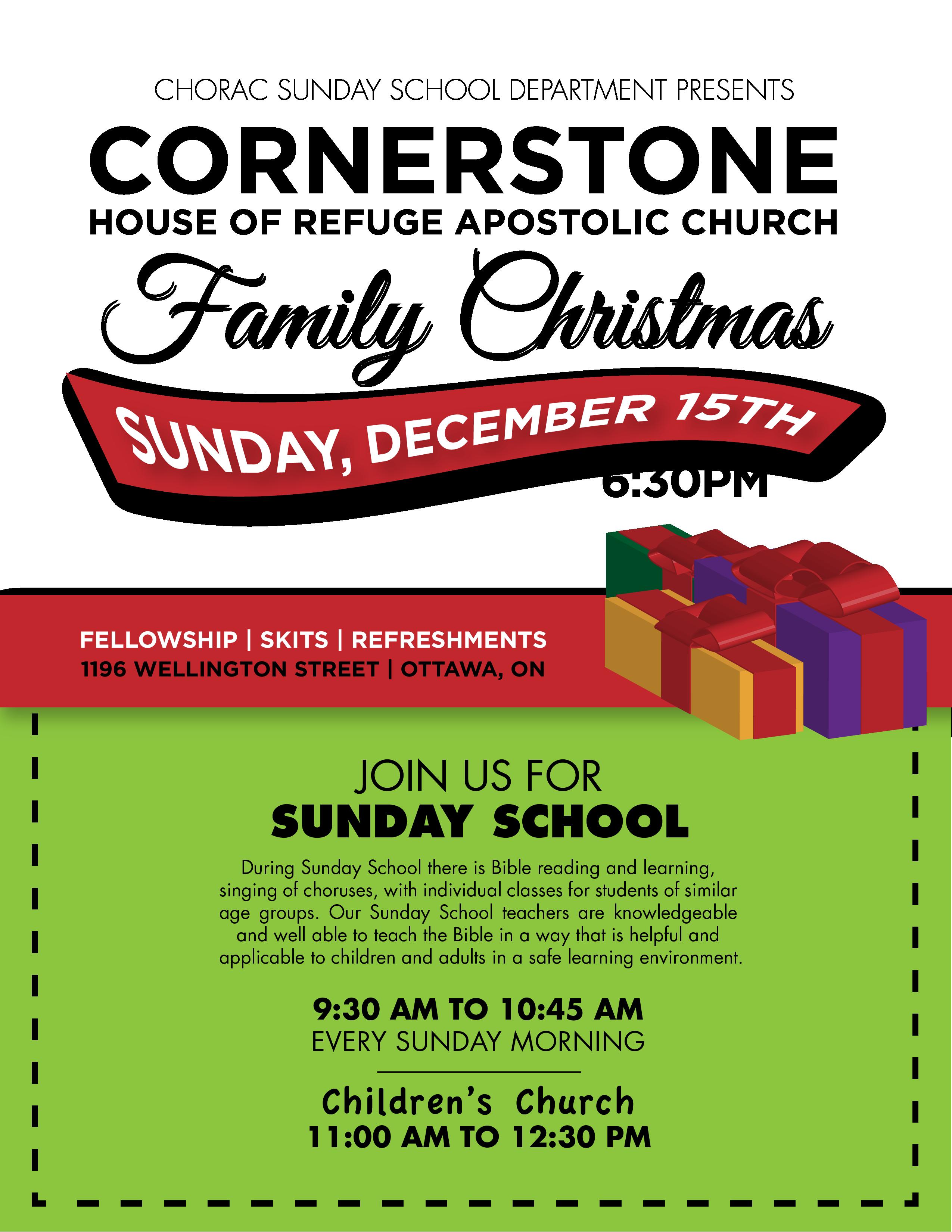 Sunday School Christmas Program | Cornerstone House of Refuge ...