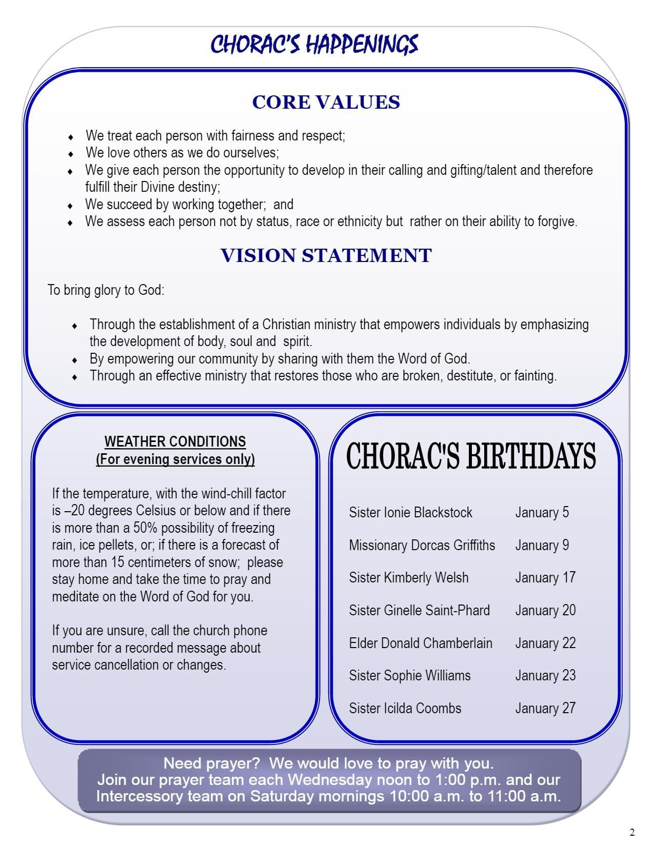 January 2018 Newsletter | CHORAC